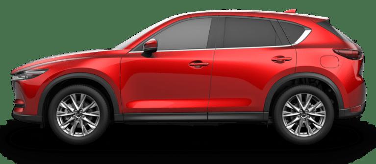 サイドから見た2019 Mazda CX-5ディーゼル – ソウルレッドクリスタルメタリック