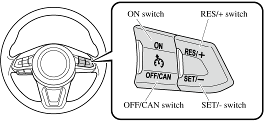 if your mazda has the following steering switch, your mazda is equipped  with the mazda radar cruise control with stop & go function (mrcc with stop  & go